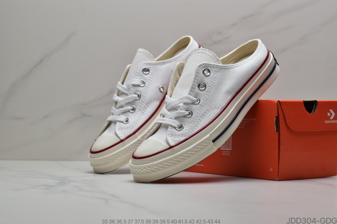 "匡威Converse Chuck Taylor All Star Mule""White/Red/Navy""1970一脚蹬系列莆田鞋"